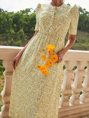 Платье с цветочным принтом с кружевной отделкой