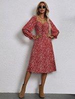 Платье с цветочным принтом с узлом с молнией