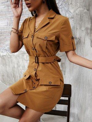 Платье с рулонными рукавами поясом с карманом на пуговицах
