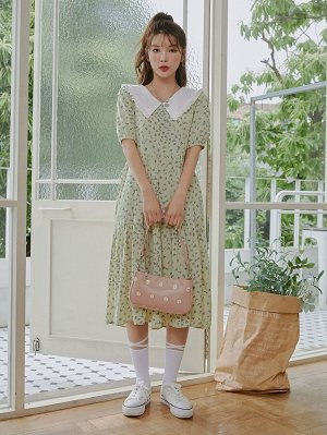 Платье с цветочным принтом драматический воротник с оборками
