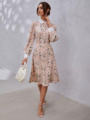 Платье с цветочным принтом поло