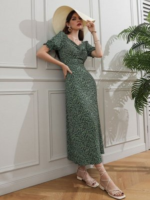 Платье с цветочным принтом с глубоким декольте пышным рукавом прямой