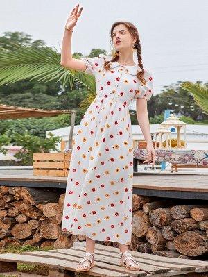 Платье с цветочным принтом с воротником питер пэн пышным рукавом