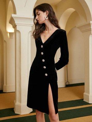 Платье с v-образным вырезом высоким разрезом на пуговицах бархатный