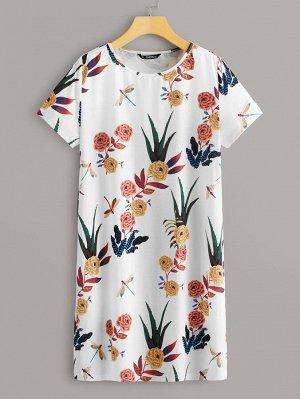 Платье-футболка с цветочным принтом