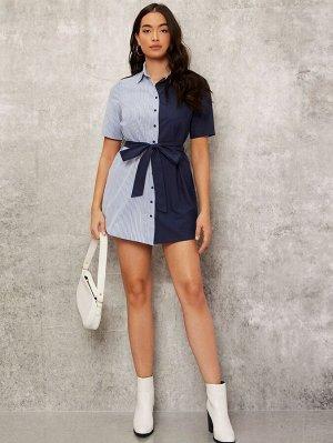 Платье-рубашка с поясом Контрастный в полоску