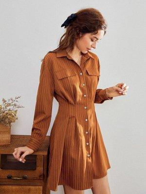 Полосатое платье с пуговицами