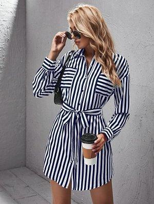 Платье-рубашка в полоску с поясом и карманом