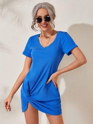 Однотонное трикотажное платье-футболка