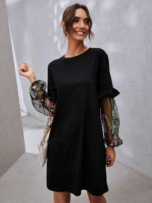 Платье-футболка с цветочной вышивкой