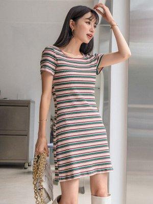 Платье-футболка в полоску в рубчик