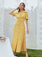 Платье-рубашка с цветочным принтом с лацканами пышным рукавом