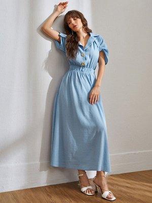 Платье на пуговицах с оригинальными рукавами