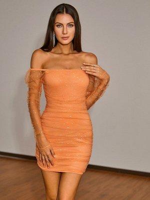 Double Crazy Облегающее платье со стразами с открытыми плечами сетчатый