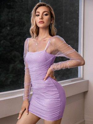 Double Crazy Облегающее платье со стразами сетчатый