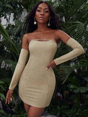 Платье без бретелек с рукавами