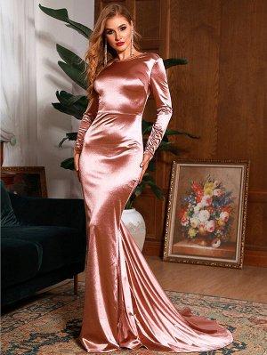 LOVE&LEMONADE Атласное платье с вырезом на спине