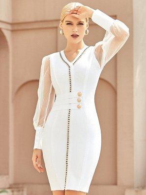 ADYCE Контрастное платье с рукавами-фонариками