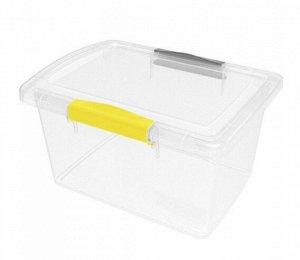 """Ящик для хранения пластиковый прозрачный с защелками 2,5л """"Laconic mini"""" желтый/серый"""