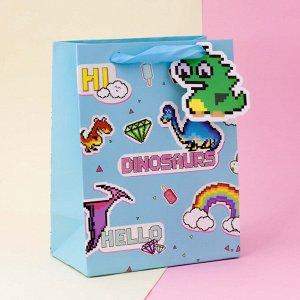 """Подарочный пакет(M) """"Pixel"""" Dinosaurs"""