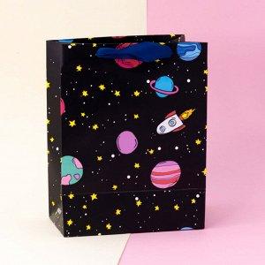 """Подарочный пакет(S) """"Universe rocket"""", black"""