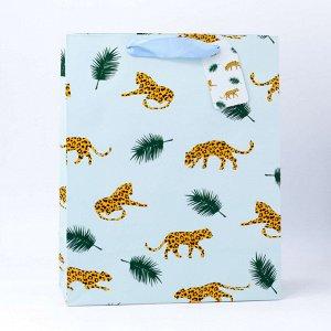 """Подарочный пакет(M) """"Cheetah in the forest"""", blue"""