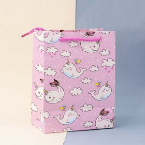 "Подарочный пакет(S) ""Whalecorn"", pink"