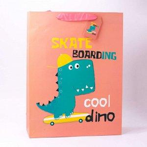 """Подарочный пакет(L) """"Dino"""", pink"""