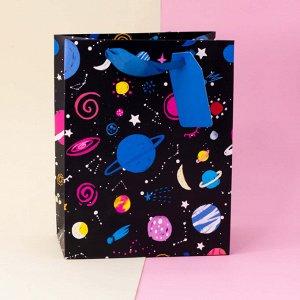 """Подарочный пакет(L) """"Universe planet"""", black"""