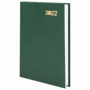 Ежедневник датированный 2022 (145х215 мм), А5, STAFF, твердая обложка бумвинил, зеленый, 113340
