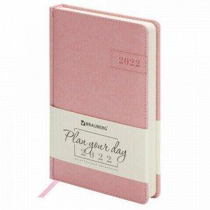 "Ежедневник датированный 2022 А5 138x213 мм BRAUBERG ""Imperial"", под кожу, розовый, 112761"