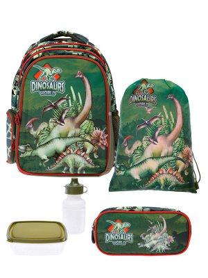 Комплект для мальчиков: рюкзак, пенал, сумка для обуви, бутылочка для воды, ланч-бокс