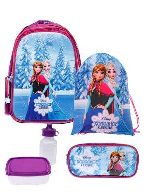 Комплект для девочек: рюкзак, пенал, сумка для обуви, бутылочка для воды, ланч-бокс