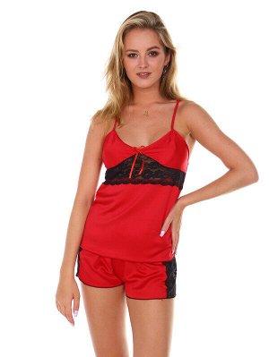 Пижама Ткань: Шелк Состав: 100% пэ Цвет: Красный Год: 2021 Страна: Россия Лёгкая ткань! Комфортная посадка! Пижама женская с шортами , выполненная из однотонного шелка с кружевом, станет самой любимой