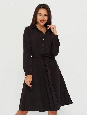 Платье-рубашка короткая, черный