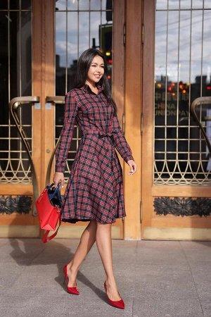 Платье-рубашка короткое, темно-синий-красный