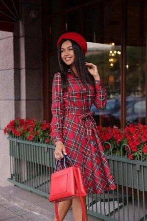 Платье-рубашка короткое, красно-сине-зеленый