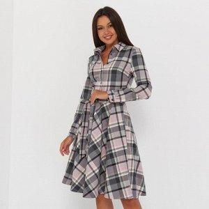 Платье-рубашка короткое, серо-розовый