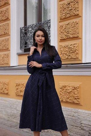 Платье-рубашка длинное, клетка сине-золотой