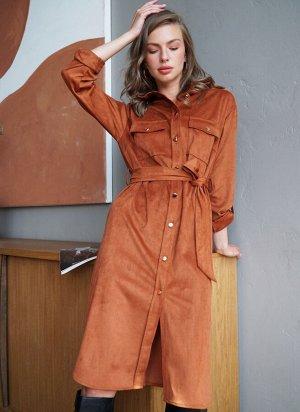Платье-рубашка из тонкой эко-замши.