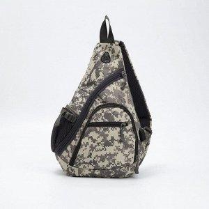 Рюкзак L-6039, 25*9*43, отд на молнии, 3 н/кармана, дыш спинка, с USB, сер/пиксель