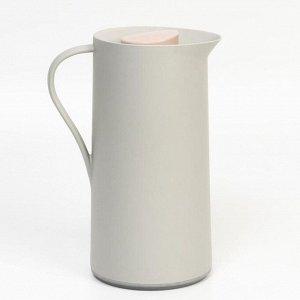 Термос-кофейник 1 л, стеклянная колба, сохраняет тепло 24 ч, серый