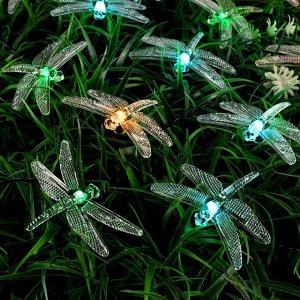 """Гирлянда """"Нить"""" 4.5 м с насадками """"Стрекозы"""", тёмная нить, 30 LED, свечение зелёное/аквамарин/жёлтое, 2 режима, солнечная батарея"""