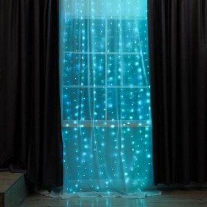 ЗАНАВЕС, Ш:2.8 м, В:3 м, USB, роса, на крючках для штор, с пультом, LED-300-5V, АКВАМАРИН