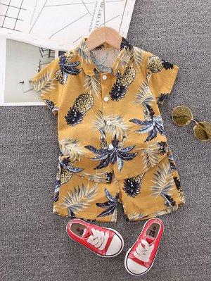 Рубашка с оригинальным принтом и шорты для мальчиков