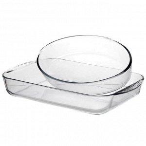 """""""Borcam"""" Форма стеклянная жаропрочная набор 2шт: лоток прямоугольный без крышки 3,85л, блюдо овальное 2,36л, цветной картон, Pasabahce (Турция)"""