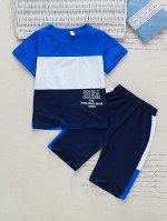 Контрастная футболка с текстовым рисунком и спортивные шорты для мальчиков