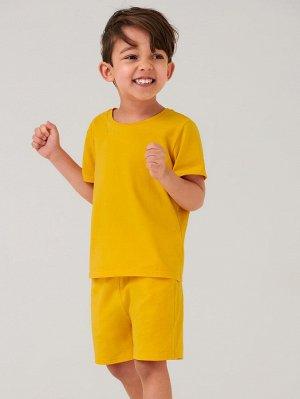SHEIN BASICS Карман Ровный цвет Повседневный Комплект из двух предметов для мальчиков