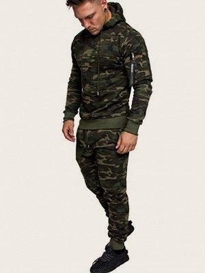 Мужские спортивные брюки и толстовка с камуфляжным принтом