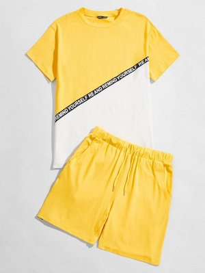 SHEIN Желтая мужская футболка с текстовым узором и шорты